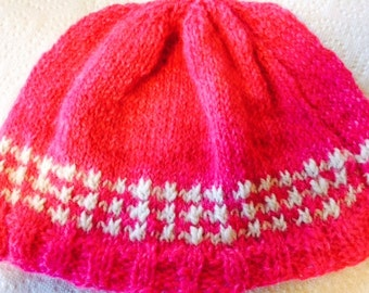 Alpaca Hat - Hot Pink with White