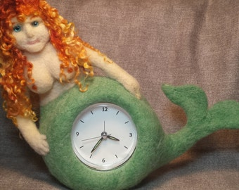 Needle Felted Mermaid with A Clock in Her Stomach