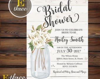 White Farmhouse Bridal Shower Invitation - Shiplap and Flowers Wedding Shower Invite - Mason Jar