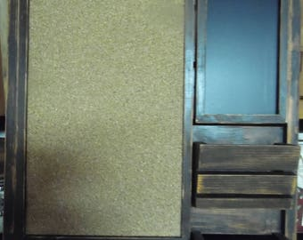 Farmhouse Message Board--Framed Corkboard--Mail Holders--Family Message Center-- Kitchen Center