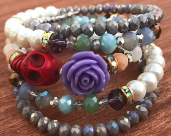 Day of the Dead Purple Rose and Red Sugar Skull Memory Wire Wrapped Boho Bracelet