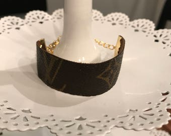 Bracelet made from Louis Vuitton Vintage Handbag Canvas