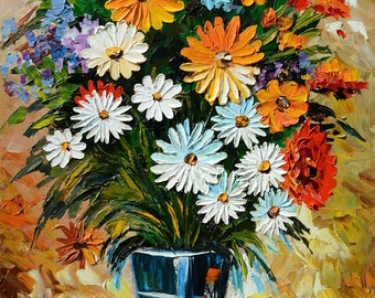 Flowers Original Oil Painting Palette knife Daisies Vase Colorful Handmade MADE to ORDER decor home office white red blue ART by Marchella