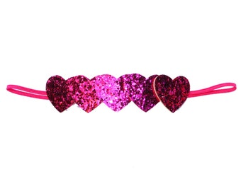 Hot Pink Glitter Heart Headband - Valentine's Day Headband - Baby Headband - Infant Headband - Toddler Headband - Adult Headband