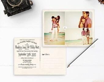 "Wedding Invitation Post Card, 5x7, Wedding invitation, the ""Madelyn"""