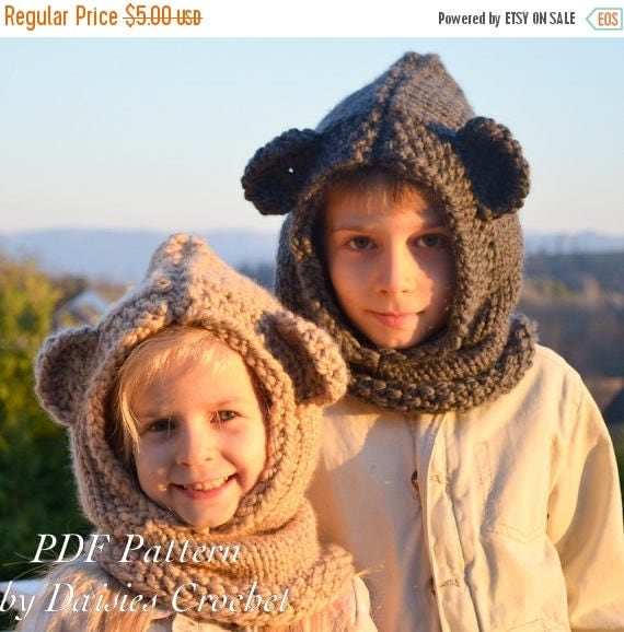 ON SALE Knitting hooded cowl PATTERN. Knit scarf. Knitting hood. Zindy Mouse Hooded Cowl. Baby, toddler, child, adult sizes. (042)