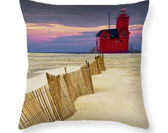 Big Red Lighthouse with Dune Fence by Holland Michigan on a Throw Pillow No.0091 seascape decorative novelty pillow Home Décor cushion cover