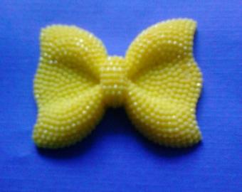 Kawaii big yellow bow cabochon with yellow rhinestone decoden deco diy charm---USA seller