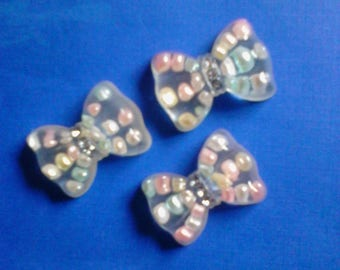 kawaii cute bow with pearls decoden phone deco diy charm cabochons  3 pcs---USA seller