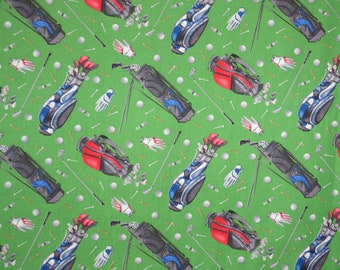 Golf Gear on Green Print Pure Cotton Fabric--By the Yard