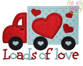 Loads of Love Valentine Applique Design For Machine Embroidery INSTANT DOWNLOAD now available