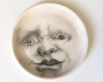 Man in the Moon Ring Dish, white Porcelain Dish, Grotesque Moon Face, White Moon Dish