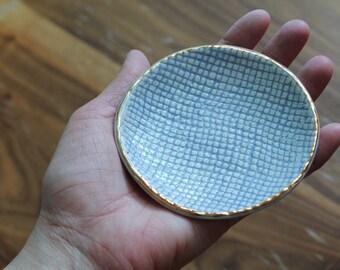 Burlap Texture  Dish - Jewelry, soap dish, tea steeping shield
