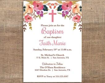 Baby Girl Baptism Invitation, Christening Invite, Boho, Watercolor Floral, DIY PRINTABLE