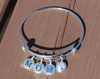 Mom and One Swarovski Crystal Adjustable Bangle - Gifts for Her - Gifts for Mom - Mother's Day