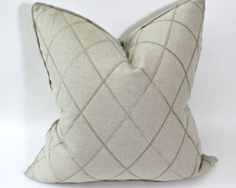 "Pair of 20"" Quilted Linen Pillow Cover Robert Allen De Signet"
