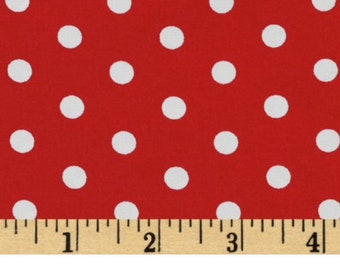 Robert Kaufman Pimatex Basics Red and White Polka Dot Fabric