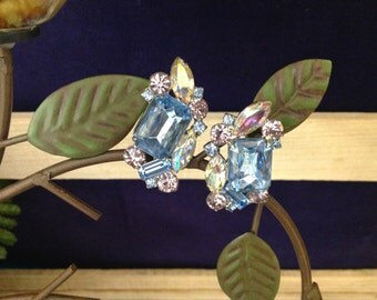 Blue Crystal Clip Earrings