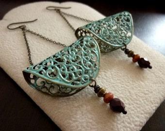 40% OFF SALE! Verdigris Filigree Earrings. Victorian Drop Earrings. Dangles Chandelier Earrings. Gift. Statement Earrings. Bohemian.