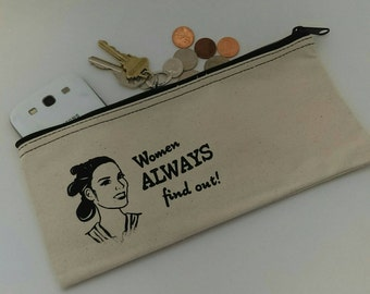 Rey Inspired Cosmetic Case - Zipper Pouch,  Clutch Purse
