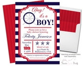 Nautical Baby Shower Invitation Printable or Printed - Nautical Baby Shower Invite - Nautical Invitation - Baby Shower Boy - Ahoy It's a Boy