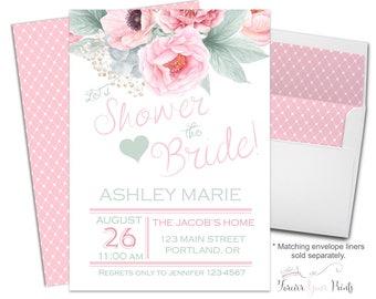 Shower The Bride Invitation - Floral Bridal Shower Invitation - Floral Bridal Shower Invite - Engagement Party Invitation - Wedding Shower