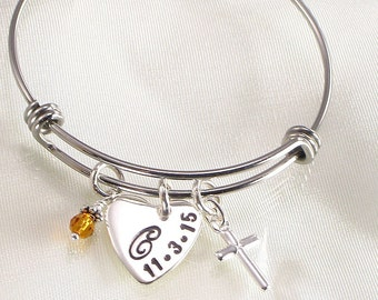 Confirmation Heart Bracelet with a Monogrammed Letter and Date on Cross Charm  Girls Bangle Bracelet  Confirmations  Baptism First Communion