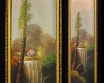 Antique Cottage & Waterfall Landscape Oil Painting, Itinérant Art Circa 1920's, Folk Art, Unique Size, 21 Inches by 6 1/4 Inches