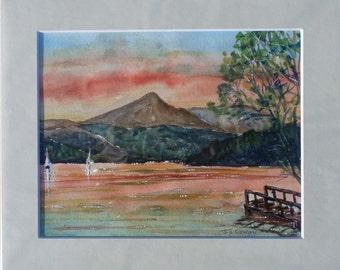 Sunset over Loch Lomond, Highlands, Scotland Original Watercolour in a mount.