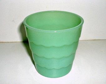 Fire King Jadite Flower Pot Scalloped Jadeite Glass Vintage Planter Pot