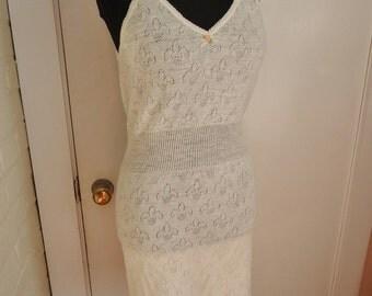 Ivory Cotton Fleur de Lis Vintage 1940's WWII Women's Nightgown Dress Slip NWT S M