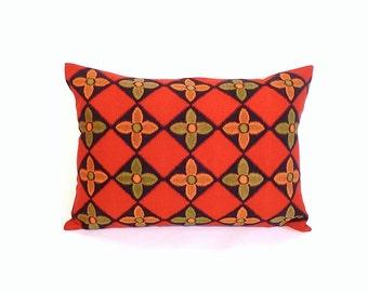 Handmade Kimono Pillow ... Vintage Fabric, Wool, Orange Black,  14 x 20, Boudoir Pillow, Japanese Textile, Bold Geometric Floral Modern