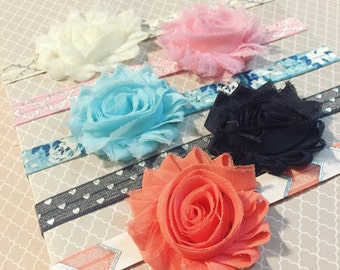 Chiffon Flower Headbands | Hair Clips: Gift Set of 5 + Shabby Chic + Newborn Baby + Toddler Girl + Floral + Alligator Clip + FOE Elastic