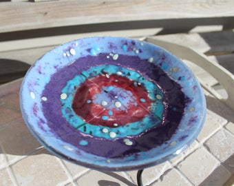Fused glass bowl, one of a kind glass bowl, fused glass, colorful glass bowl, decorative art glass bowl, fused art glass