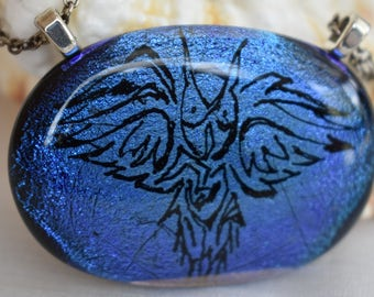 Owl Fused Glass Pendant Fused Dichroic Glass Owl Necklace