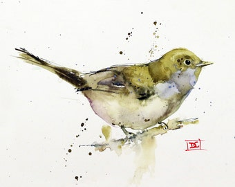 SONGBIRD Watercolor Print, Bird Art Painting by Dean Crouser