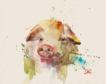 PIG Watercolor Print by Dean Crouser