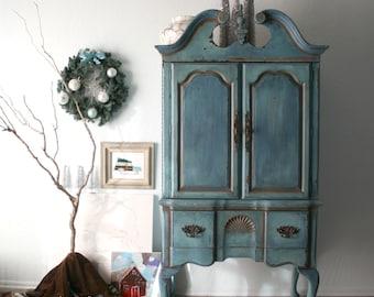 Gorgeous Cabinet in Key West Blue / French Farmhouse Coastal Style