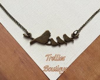 Antique Bronze Bird Tree Branch Necklace