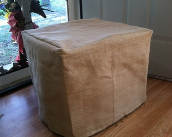 CUBE Ottoman Slip Cover  14x14x14 inches - French Grainsack Natural Burlap Fully Lined  - Your custom size