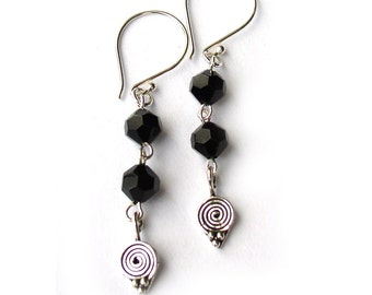 Black Crystal Earrings Celtic Swirl Sterling Silver