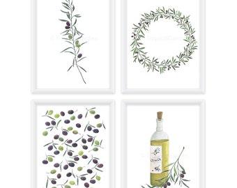 Olive Kitchen Art Set - Olive Watercolor Print Set of 4 / 8x11 Kitchen Prints, Kitchen Decor