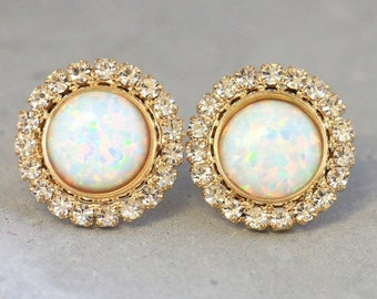 Opal earrings,White Opal earrings,Opal Stud Earrings,bridesmaids Earrings, wedding jewelry,White Opal studs,Gift for her,Opal Crystal Studs