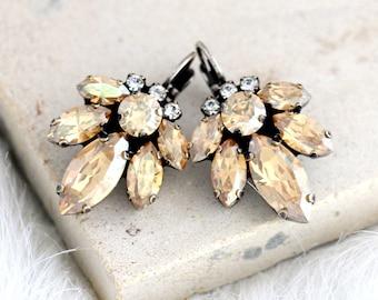 Champagne Earrings, Bridal Champagne Earrings, Swarovski Crystal Beige Earrings, Bridal Cluster Crystal Drop Earrings, Bridesmaids Gifts.
