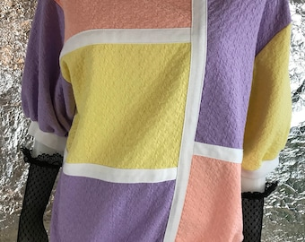 Vintage Color Block 80's Top  M/L