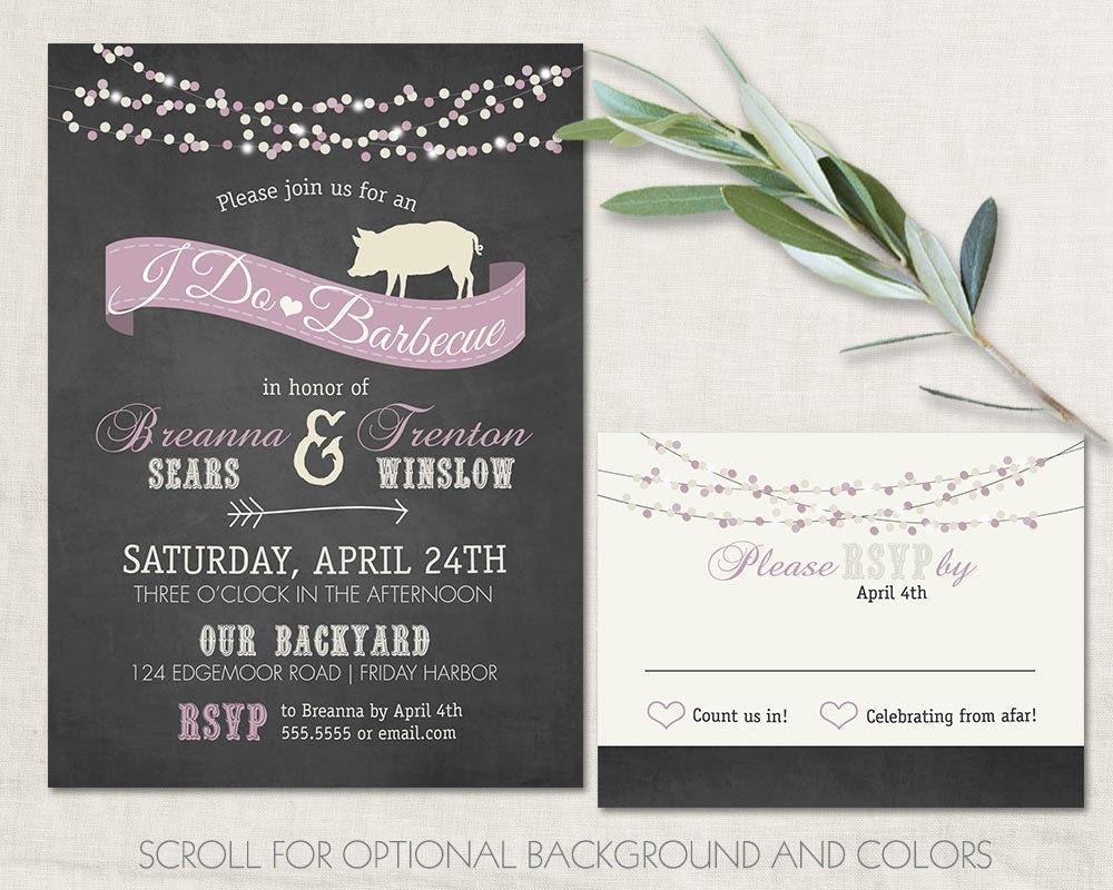 I DO BBQ Wedding Reception Invitations Chalkboard Cookout Invitation ...