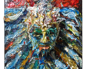 SOLD - Oil Paint on Stretched Canvas of 20 by 16 by 7 in. / Original oil painting large carving art sculpture portrait folk abstract 3D