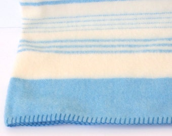 Vintage wool blanket/ made in Scotland/ blue and white stripes
