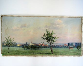 Vintage original oil painting/landscape painting/wall decor/Czech