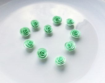 Mint green rose beads handsculpted from polymer clay